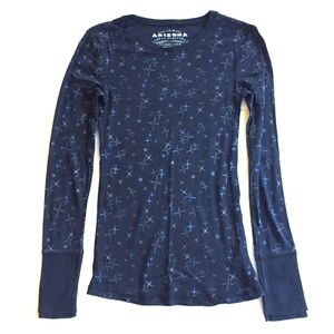 Arizona Black Long Sleeve Shirt w/ Blue Bursts